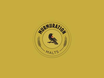 Murmuration Round Sticker : Black on Gold beer bird branding design layout malt malting redwing blackbird sticker typography vector