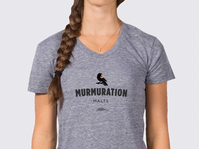 Murmuration Woman's Tee vector typography t-shirt blackbird redwing malting malt layout design branding textile beer