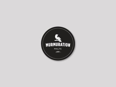 Murmuration Round Sticker : White on Black vector typography sticker blackbird redwing malting malt layout design branding bird beer