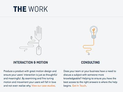 The Work ui web development website iconography design css html development layout typography svg