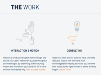 The Work ui web development website iconography design css html development layout typography svg