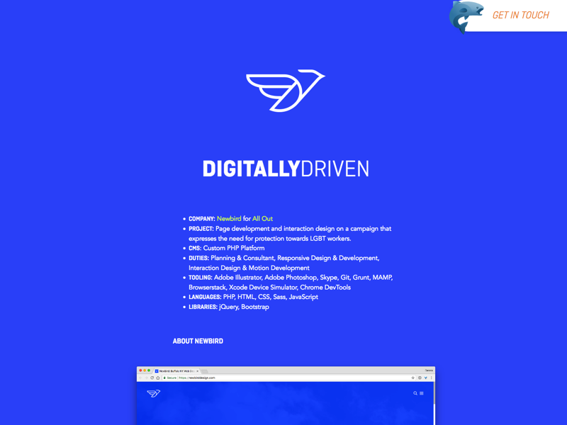 Newbird Case Study svg css html design typography web design ui development case study interface design