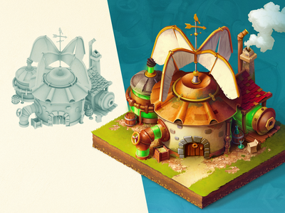 Isometric house building steampunk 3d isometric house art game concept illustration
