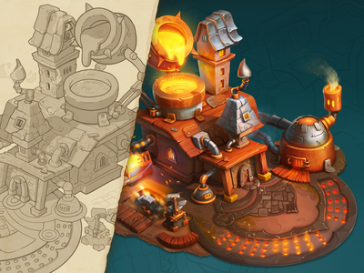 Smithy | props concept house illustration game art game 3d art building props art steampunk drawing sketch concept illustration