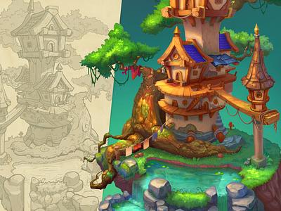 Treehouse   props development tree wood waterfall game art treehouse props castle art game sketch concept illustration