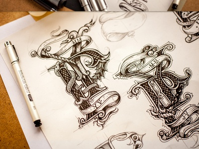 Monogram typography sketch drawing logo pencil wood logotype lettering monogram calligraphy