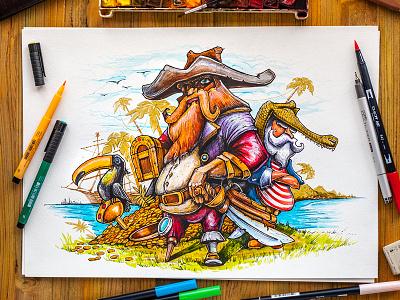 Pirates pirate sand illustration gold coin island adventure palm treasure chest bird watercolor