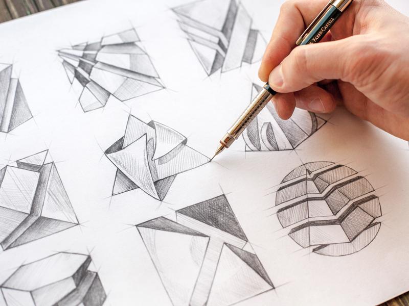 Logos logo process sketch shape pencil paper handmade line logotype wip hi-tech symbol