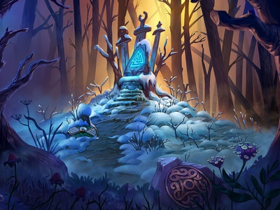 Backgrounds for the Solitaire game slot design viking landscapes background art game concept illustration