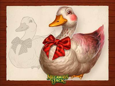 Magical Goose animals bird goose game art slots art game sketch character concept illustration