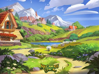 Valley valley mountains game art mobile games game art background landscape illustration