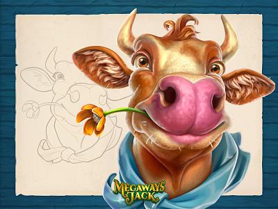 Cow   Megaways Jack icon animal cow game art slots art cartoon game sketch character illustration