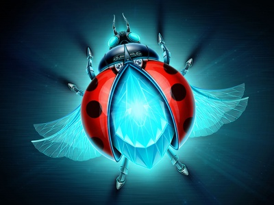 Ladybird ladybird diamond shine glossy glow bug brilliant wings