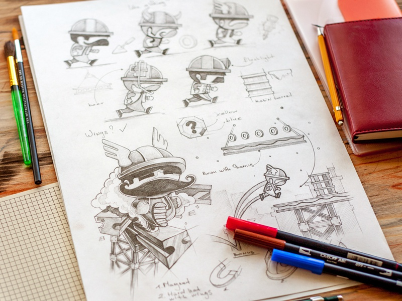 Block Buster game concept coin jump block rail bonus level upgrade sketch character helmet