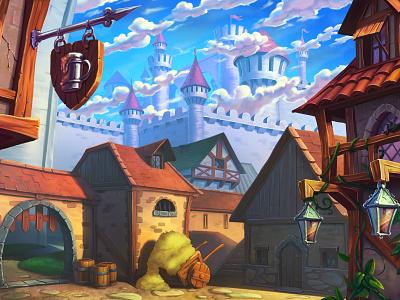 Robin Hood game | background castle game art landscape sherwood robin hood drawing sketch background concept illustration