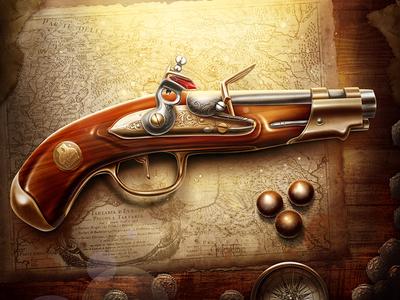 Pistol gun pistol gold pirate ball shoot bullet map old compass coin cooper