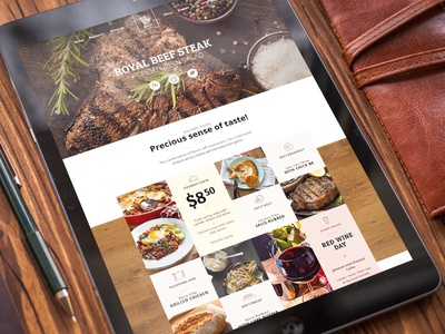 Restaurant restaurant web page landing wood content food banner feedback quote grill