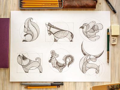 Animal logo sketches animal logo sketch handwork dog bird rooster squirrel horse