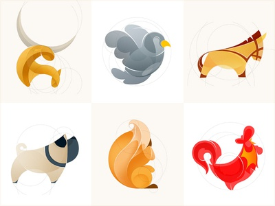 Animal Logos animal logo sketch vector dog bird rooster squirrel horse