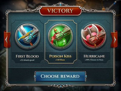 Reward rpg game victory skill hand knight sword axe poison bottle arrow pop-up