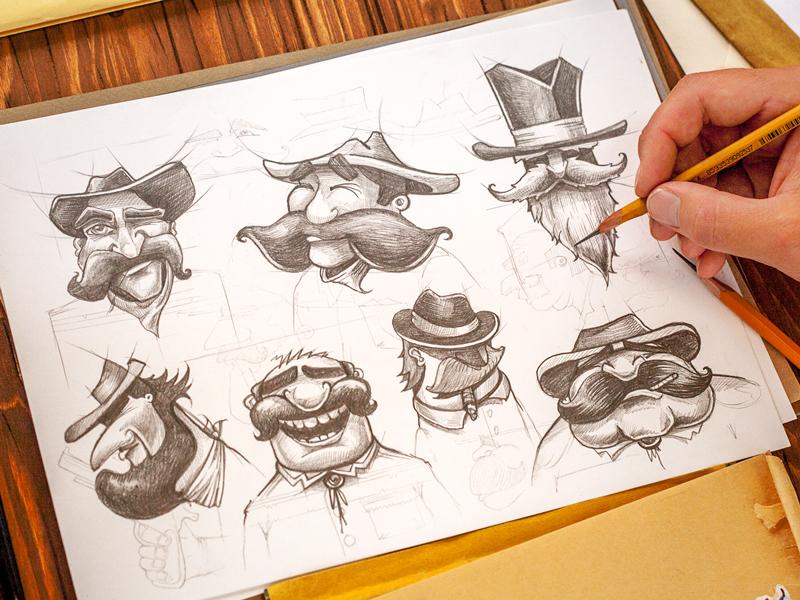 Saloon Men saloon cowboy character mustache beard concept sketch emotion eyes personage hat