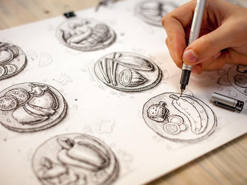 Vegetables, process illustration graphic vegetables wood process handwork pencil line