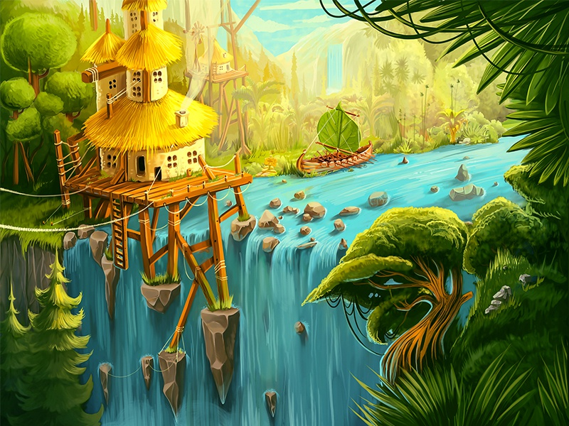 Waterfall wallpaper waterfall rock fantasy ship water house leaf tree jungle concept background