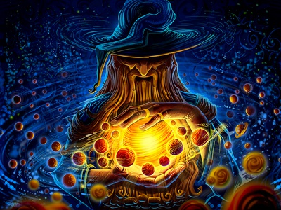 Merlin mage illustration planet character hat wallpaper concept space beard sun hand