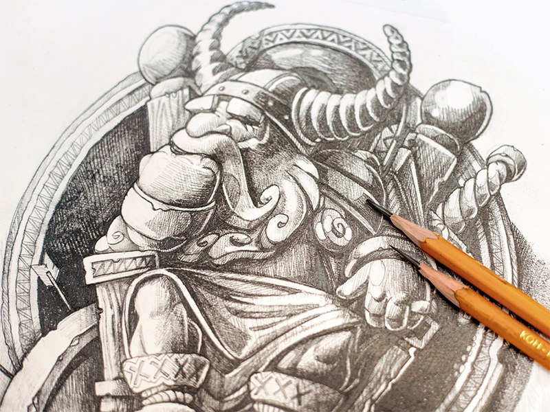 Odin warrior viking throne weapon sword sketch king arrow character