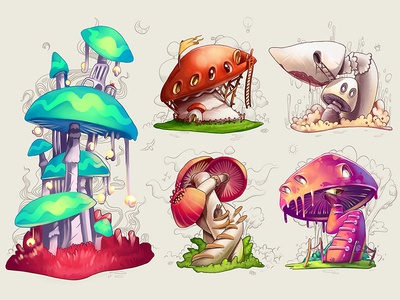 Mushrooms mushrooms house concept sketch illustration magic plant grass indie icon home drawing