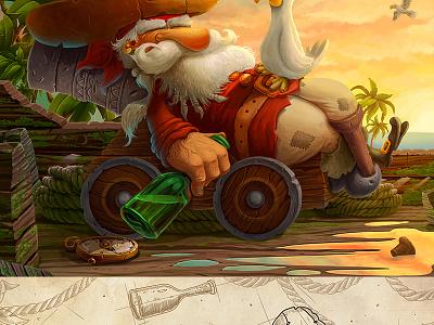 Drunken Pirate mustache palm rope ship sky bottle hat ocean sea bird character pirate