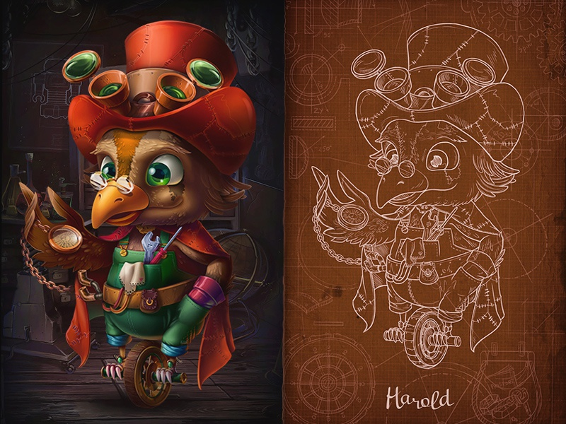 Harold | Twist the Gear game steampunk illustration character bird professor cartoon hat gears