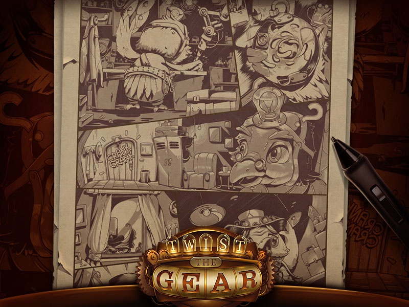 Game Story | Twist The Gear comics gears hat cartoon professor gamestory character illustration steampunk