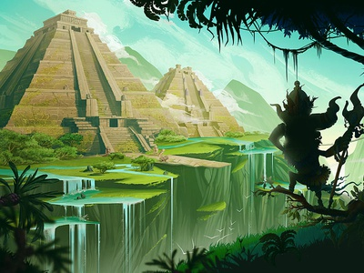 Tenochtitlan background landscape illustration character concept game maya aztec mountains jungle
