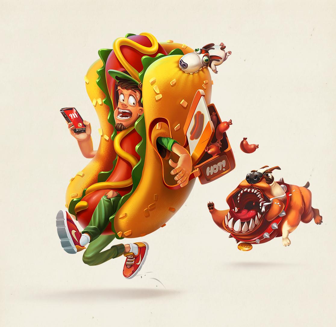 Hot dog man attach