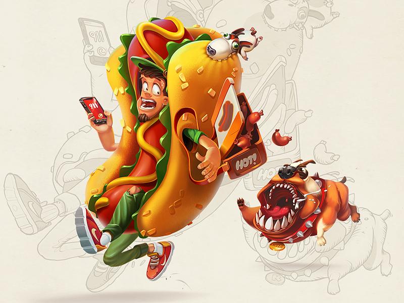 Hot Dog Seller face cartoon fun man dog hotdog illustration concept characters