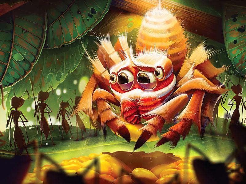 Bagheera Kiplingi cartoon ant animal art spider illustration
