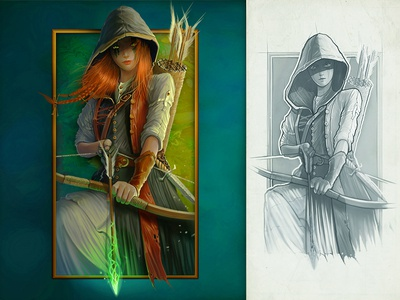 Fairy-archeress rude illustration archeress symbol magic girl art game slot concept character fairy