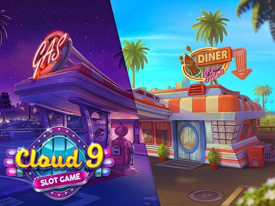 Cloud 9 | Background rock and roll slot game gas station game ui concept logotype 60s fastfood background illustration