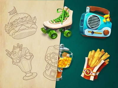 Cloud9   Game Elements concept icon 60s ui station gas fastfood element illustration game slot