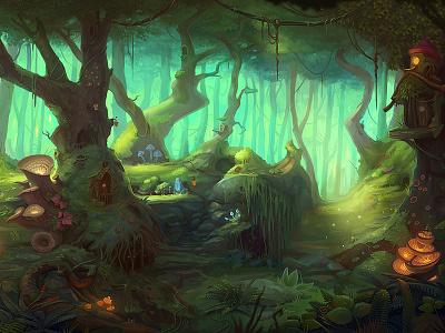 Faerie Nights Background slot design background game art magic game design trees landscape forest game concept illustration