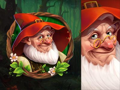 Dwarf magic redhead wizard game slot design old man dwarf character concept illustration