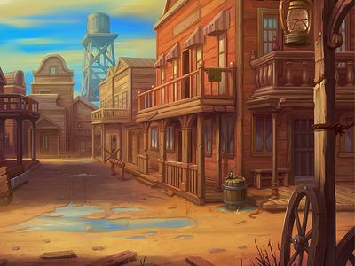 Wild West Background america game slot design saloon westworld western cowboy landscape background art illustration