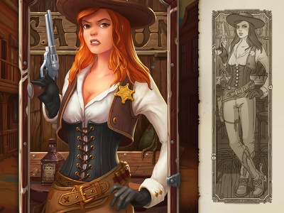 I Am The Law   Character sketch drawing slot game slot wild west girl illustration art game character concept illustration