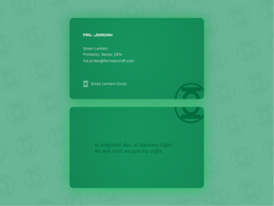 Green Lantern Business Card - Weekly Warm-Up