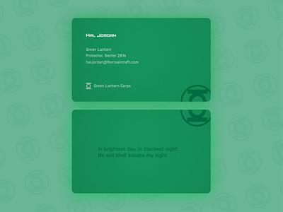 Green Lantern Business Card - Weekly Warm-Up flat business card branding