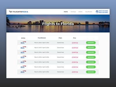 Flightopedia white blue green web ux ui booking travel pedia flight
