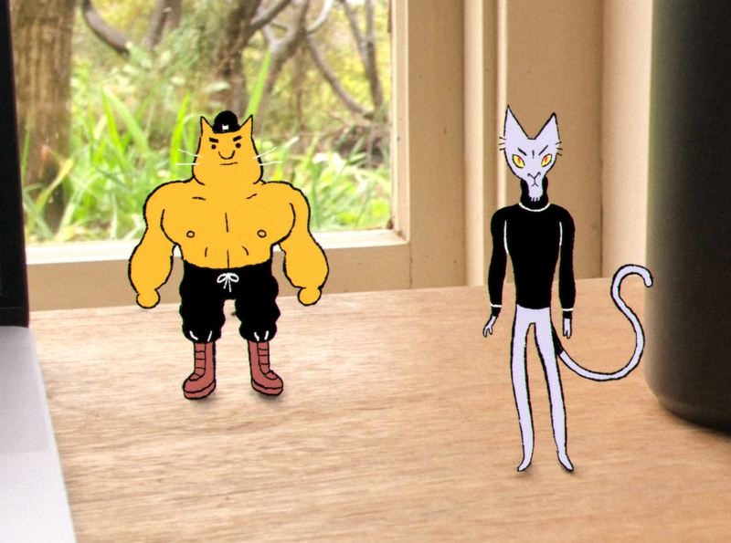 Sinister cat & henchman inked illustration hand drawn drawing character character design cel animals