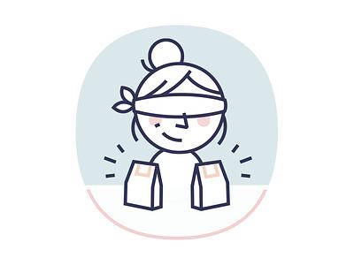 Website Illustration simple girl lady line illustration