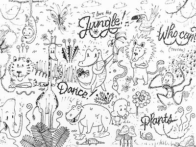 Jungle type lettering tiger lion crocodile monkey rough sketch jungle